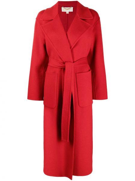 Красное шерстяное длинное пальто с запахом Michael Michael Kors