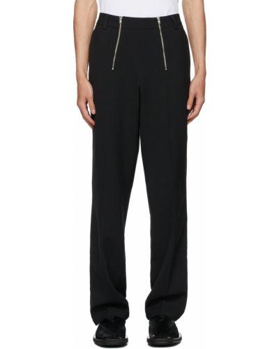 Czarne spodnie z paskiem srebrne Gmbh