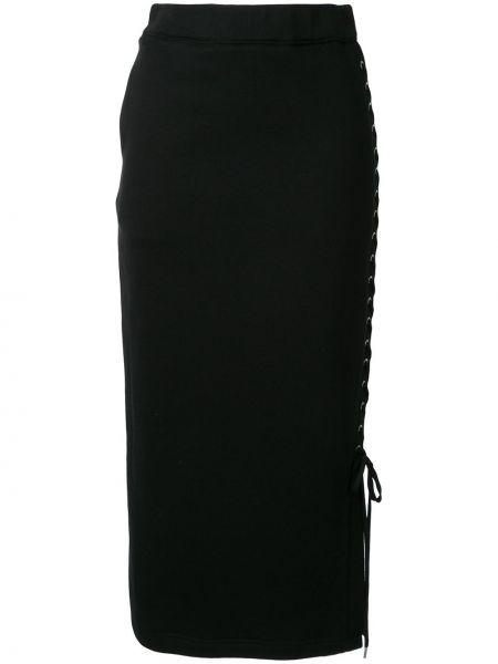 Черная с завышенной талией юбка миди с разрезом в рубчик G.v.g.v.
