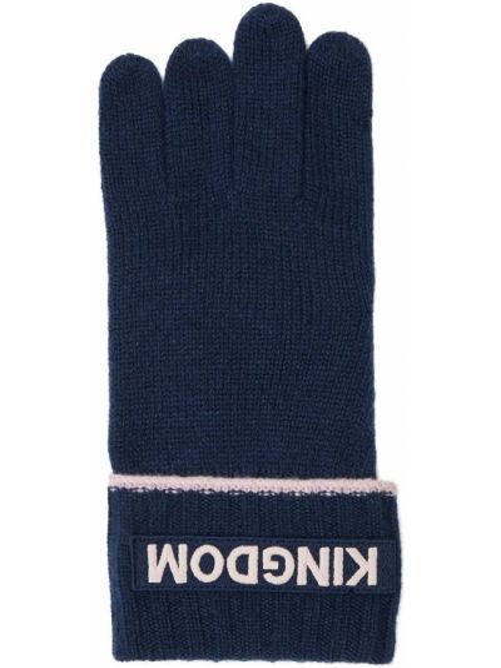 Prążkowane z kaszmiru niebieskie rękawiczki Burberry