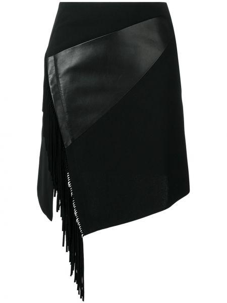 Czarna spódnica skórzana z wysokim stanem Barbara Bui