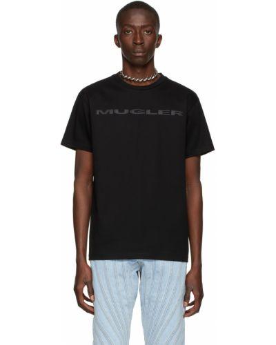 Czarna t-shirt bawełniana krótki rękaw Mugler
