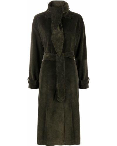 Зеленое пальто на пуговицах Semicouture