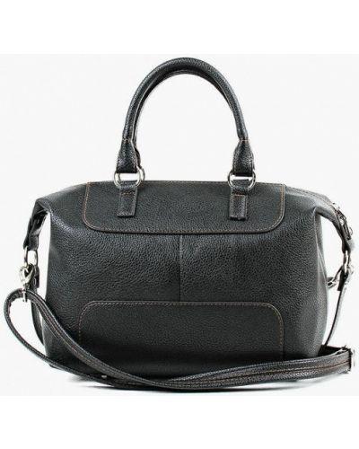Кожаная черная сумка с ручками медведково