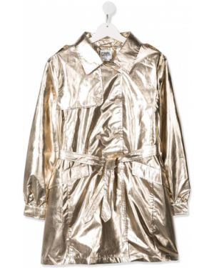 Золотистое желтое пальто классическое с воротником Karl Lagerfeld Kids
