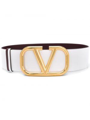 Кожаный белый ремень с поясом Valentino