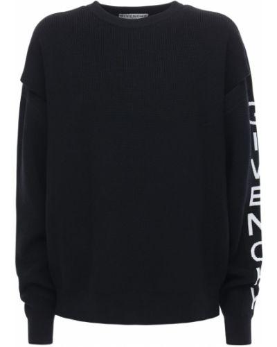 Prążkowany czarny sweter wełniany Givenchy