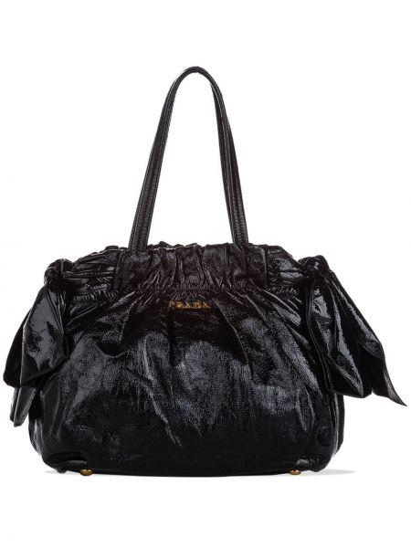 Золотистая черная сумка на плечо с бантом металлическая Prada Pre-owned