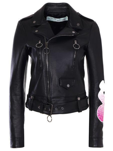 Черная кожаная куртка на молнии с манжетами с воротником Off-white