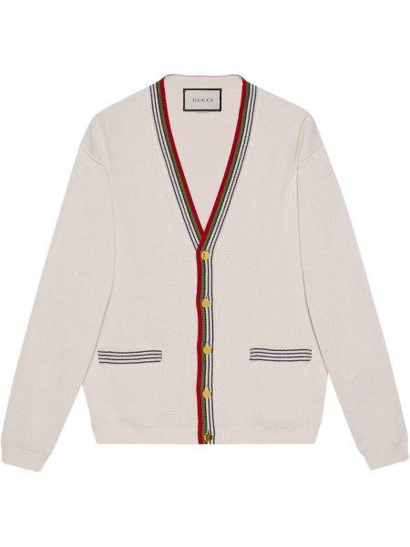 Хлопковый белый вязаный кардиган с карманами с V-образным вырезом Gucci
