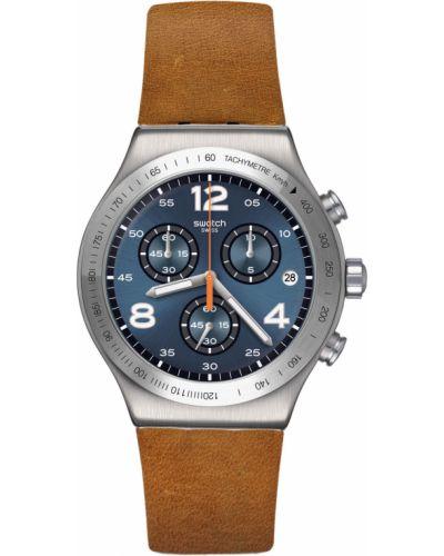 Синие с ремешком кожаные часы на кожаном ремешке Swatch