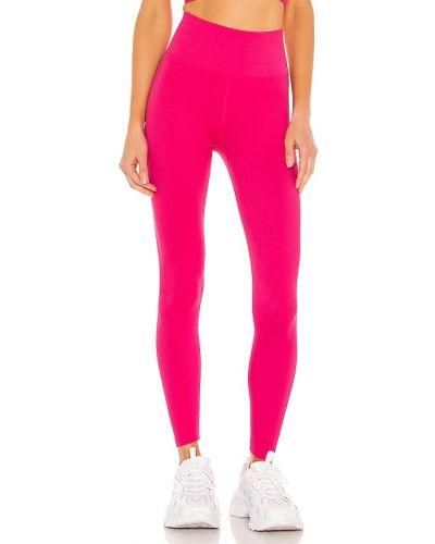 Prążkowane różowe legginsy z nylonu Spiritual Gangster