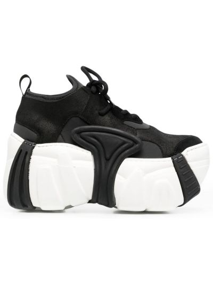 Białe sneakersy skorzane na obcasie Swear