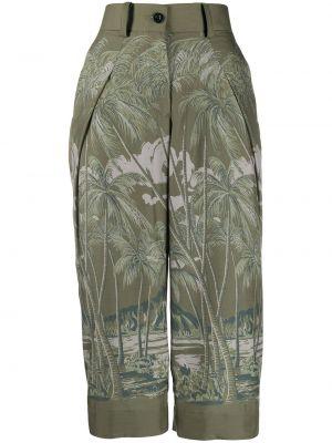 Укороченные брюки зеленый с завышенной талией Sacai