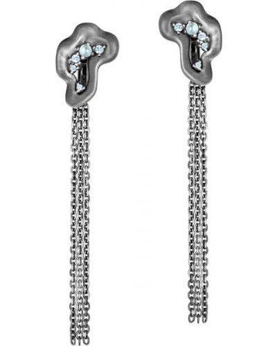 Серебряные серьги с топазом удлиненные Algenda