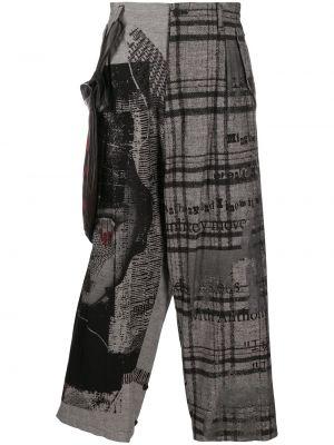 Серые кожаные укороченные брюки в клетку Yohji Yamamoto
