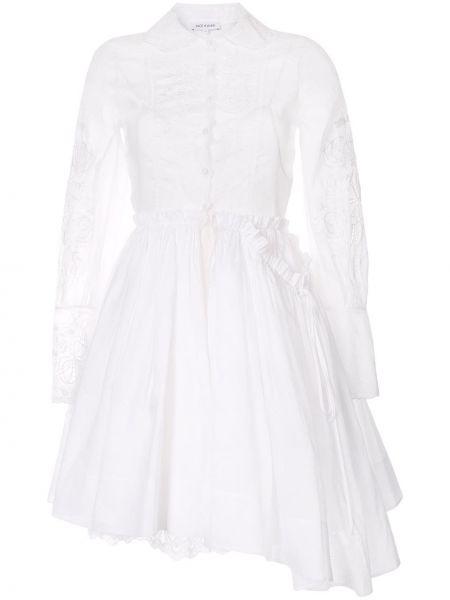 С рукавами ажурное белое платье макси Dice Kayek