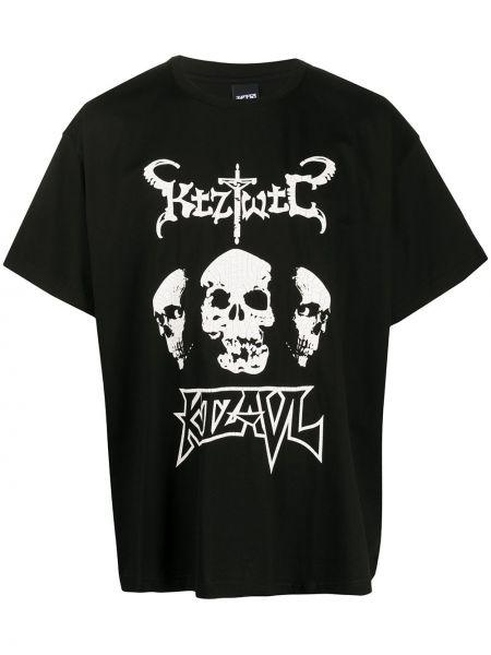 Хлопковая черная футболка свободного кроя с круглым вырезом Ktz