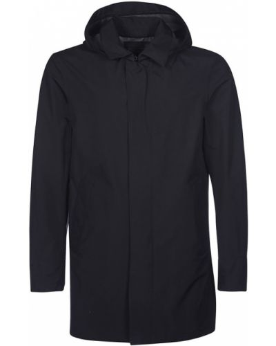 Czarny płaszcz z nylonu Herno