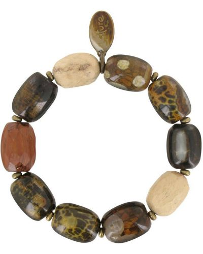 Золотой браслет с агатом деревянный Nature Bijoux