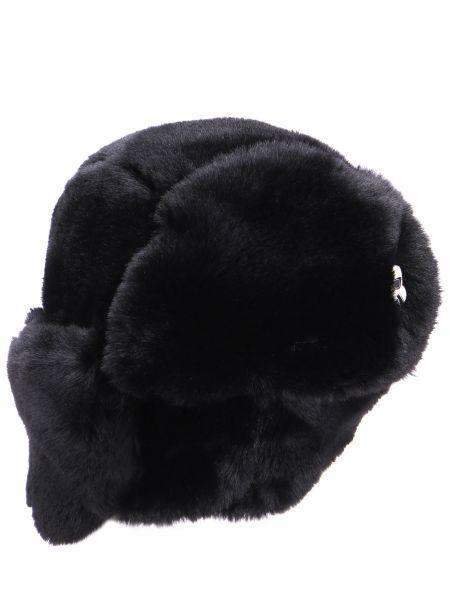 Шерстяная шапка-ушанка - черная Karl Lagerfeld