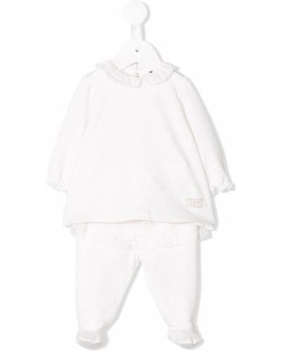 Пижама белая с воротником Elisabetta Franchi La Mia Bambina