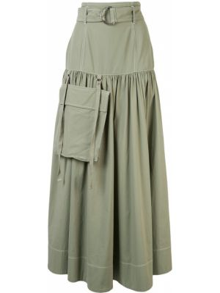 Зеленая нейлоновая юбка макси с поясом G.v.g.v.