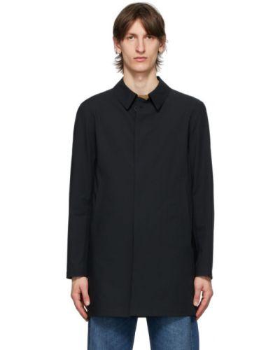 Czarny z rękawami płaszcz przeciwdeszczowy z kieszeniami od płaszcza przeciwdeszczowego Herno