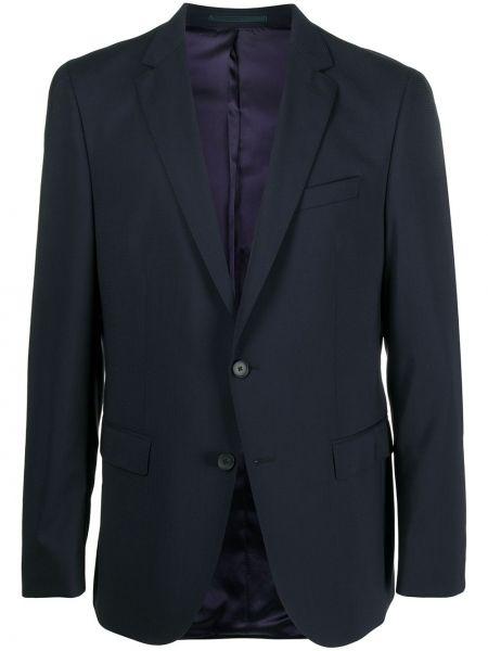 Шерстяной синий удлиненный пиджак с карманами Boss Hugo Boss