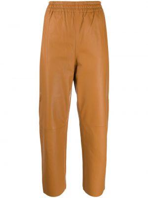 Кожаные розовые укороченные брюки с карманами свободного кроя Pinko