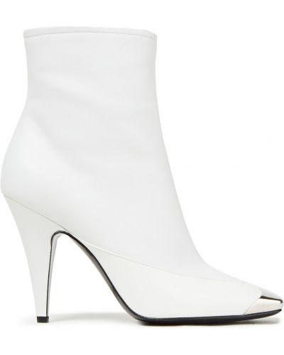 Białe ankle boots skorzane na obcasie Emilio Pucci