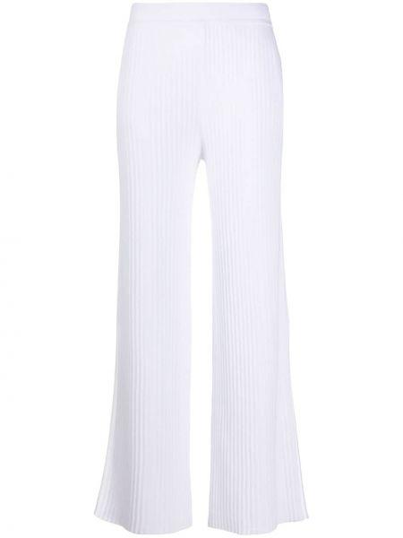 Хлопковые белые укороченные брюки с поясом свободного кроя Sminfinity