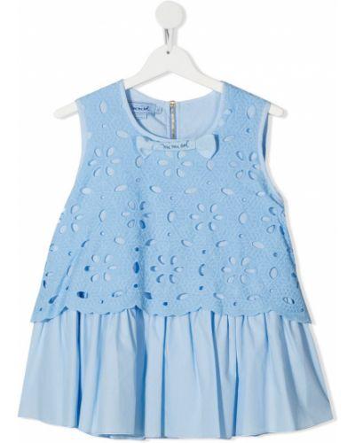 Синяя блузка без рукавов с вырезом Mi Mi Sol