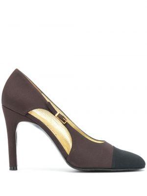 Коричневые туфли-лодочки с пряжкой без застежки на каблуке Chanel Pre-owned