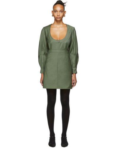 Шерстяное платье макси с длинными рукавами с воротником с карманами Situationist