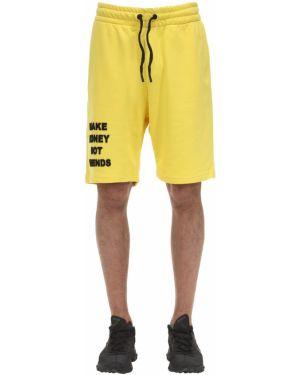 Żółte krótkie szorty bawełniane Make Money Not Friends