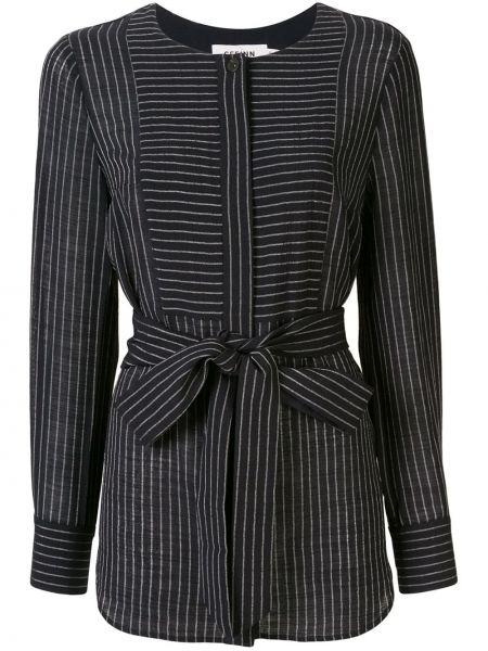 Темно-синяя блузка с длинным рукавом с поясом Cefinn