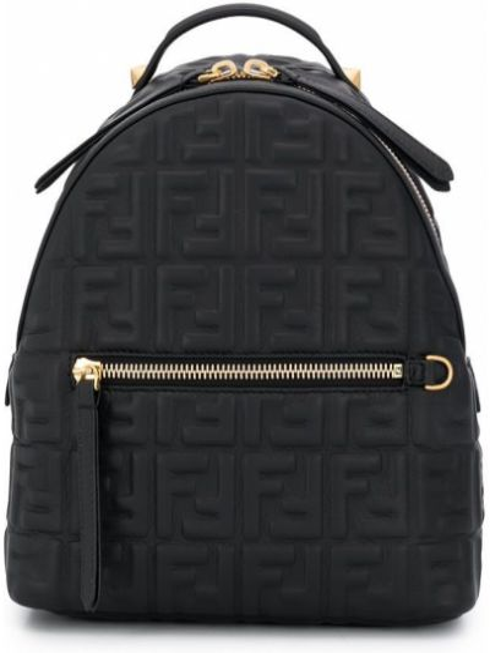 Z obrazem podwójnie dwustronny czarny plecak Fendi