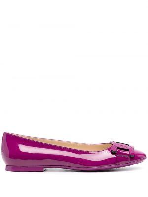 Фиолетовые лаковые кожаные туфли Tod's