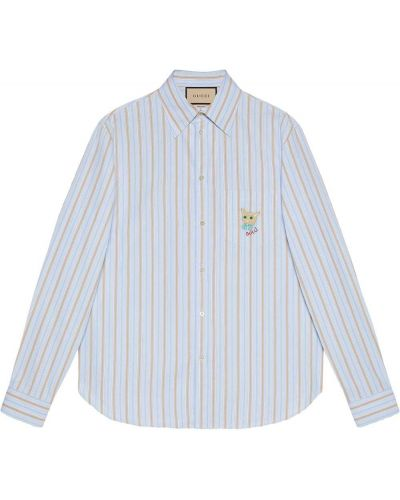 Koszula w paski w paski - niebieska Gucci