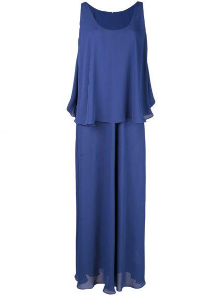 Облегченное синее платье макси без рукавов с вырезом Peter Cohen