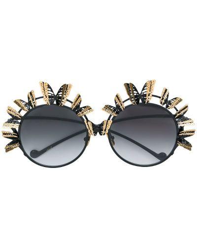 Муслиновые черные солнцезащитные очки круглые Anna Karin Karlsson