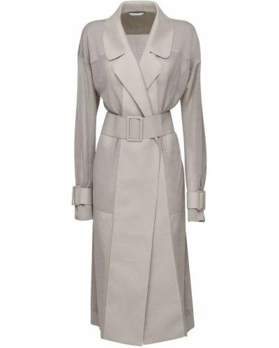 Хлопковая серая куртка с манжетами с поясом Agnona