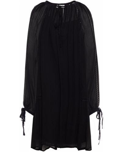 Черное платье мини из вискозы с манжетами Mcq Alexander Mcqueen