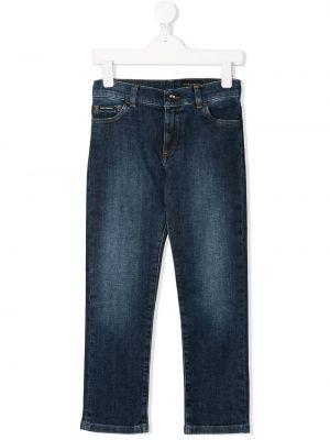 Синие кожаные джинсы Dolce & Gabbana Kids