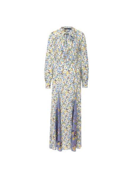 С рукавами приталенное шелковое платье макси с воротником Polo Ralph Lauren