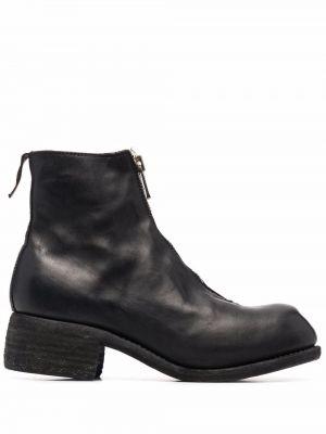 Czarne ankle boots na obcasie skorzane Guidi