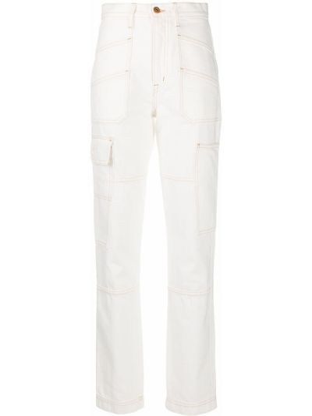 Хлопковые белые с завышенной талией джинсы на молнии Slvrlake