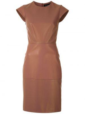 Коричневое кожаное с рукавами платье мини Gloria Coelho