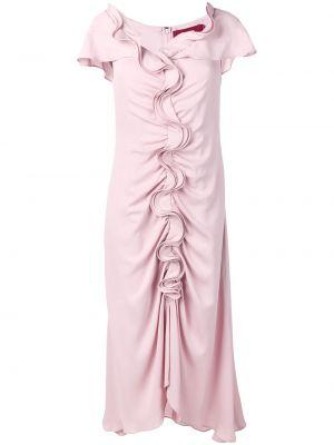 Приталенное шелковое розовое платье с воротником Sies Marjan